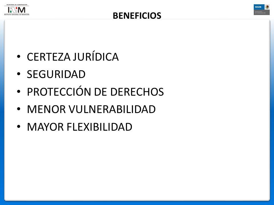 BENEFICIOS CERTEZA JURÍDICA SEGURIDAD PROTECCIÓN DE DERECHOS MENOR VULNERABILIDAD MAYOR FLEXIBILIDAD