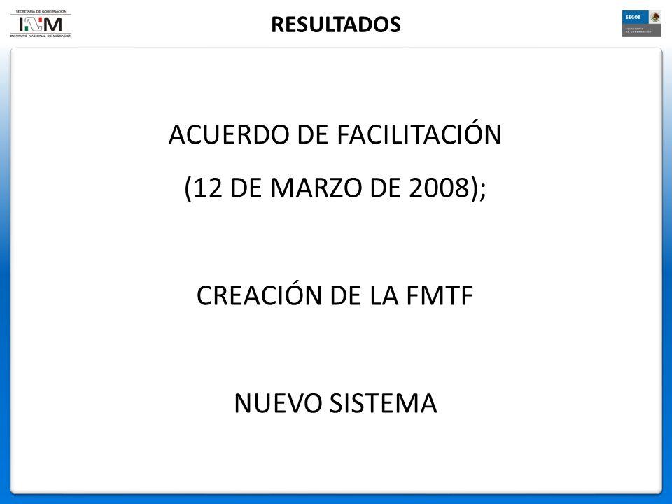 ACUERDO DE FACILITACIÓN (12 DE MARZO DE 2008); CREACIÓN DE LA FMTF NUEVO SISTEMA RESULTADOS