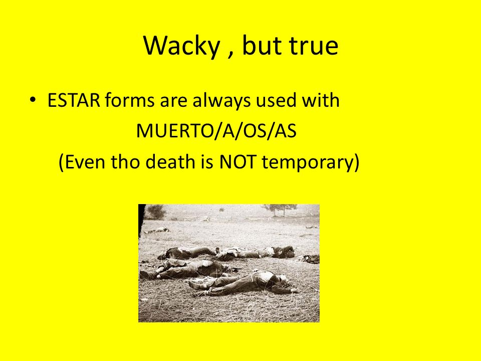 Wacky, but true ESTAR forms are always used with MUERTO/A/OS/AS (Even tho death is NOT temporary)