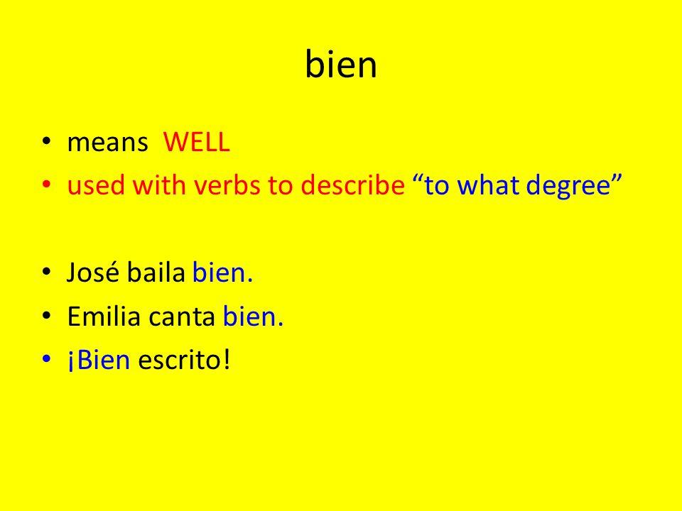 buen/bueno/buena/buenos/buenas means GOOD Its only used with NOUNS (buen used in front of a singular masculine noun) buen amigo/ amigo bueno universidad buena jugadores buenos