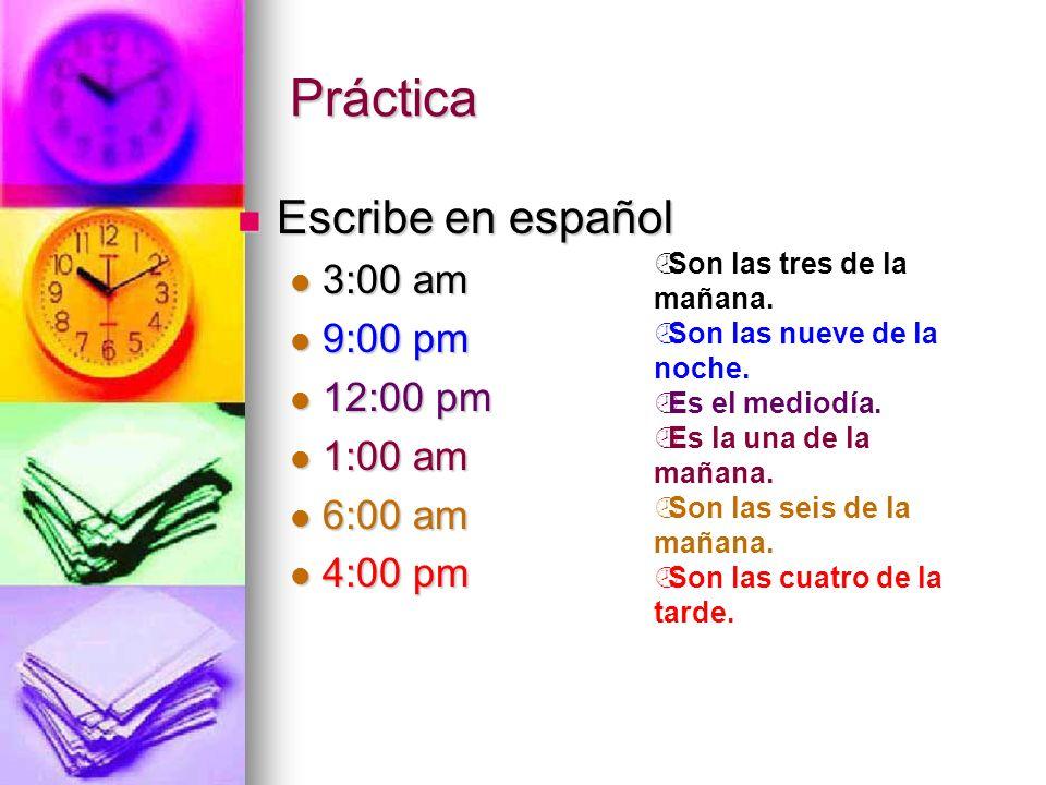 Los minutos de :01 - :30 Di la hora Y los minutos 1:10 = Es la una y diez 2:20 = Son las dos y veinte 3:15 = Son las tres y cuarto 4:30 = Son las cuatro y media