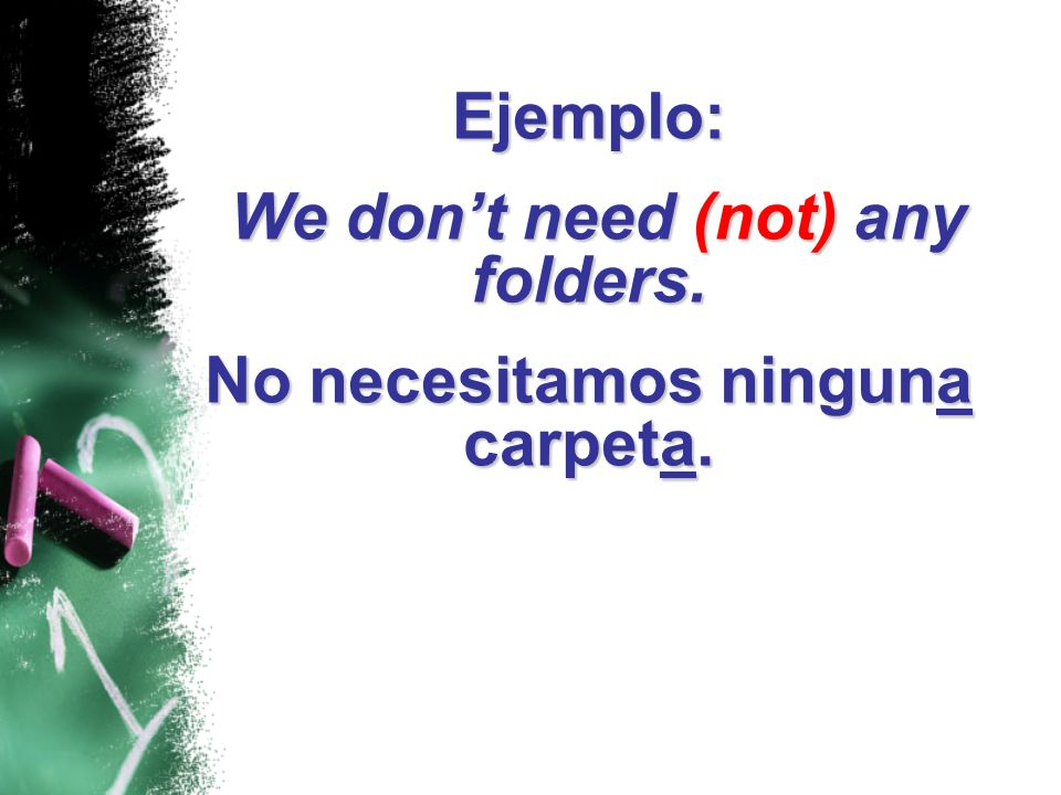 Ejemplo: I dont have (not) any class. I dont have (not) any class. Yo no tengo ninguna clase.