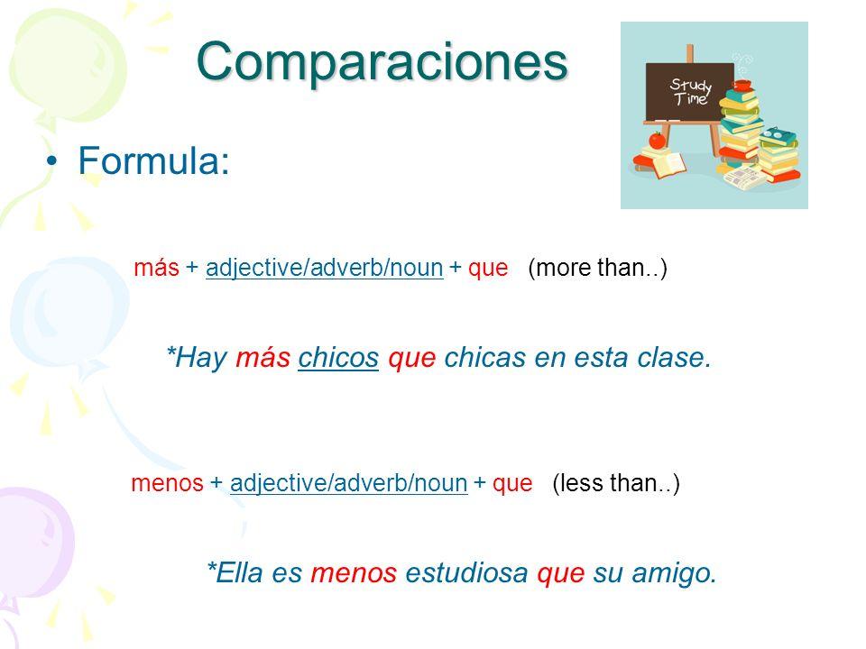 Comparaciones Formula: más + adjective/adverb/noun + que (more than..) *Hay más chicos que chicas en esta clase.