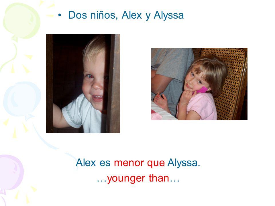Dos niños, Alex y Alyssa Alex es menor que Alyssa. …younger than…
