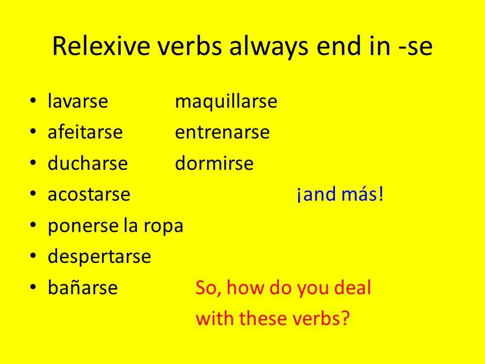 Relexive verbs always end in -se lavarsemaquillarse afeitarseentrenarse ducharsedormirse acostarse¡and más.