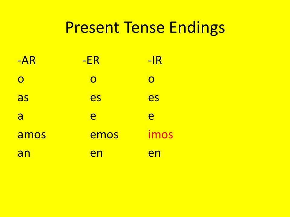 Present Tense Endings -AR -ER-IR ooo aseses aee amosemosimos anenen