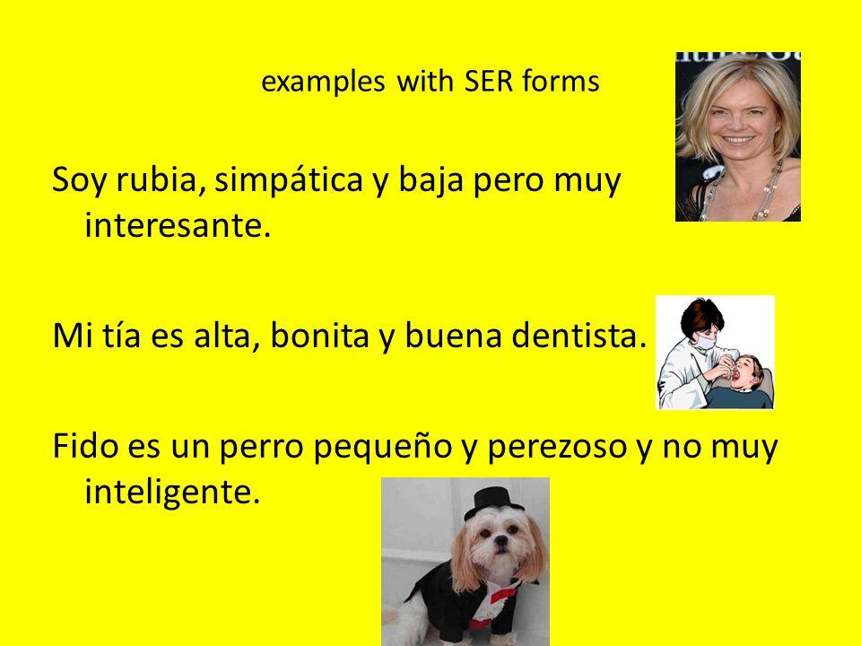 examples with SER forms Soy rubia, simpática y baja pero muy interesante. Mi tía es alta, bonita y buena dentista. Fido es un perro pequeño y perezoso