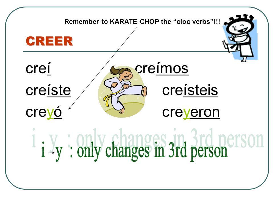 CREER creícreímos creístecreísteis creyócreyeron Remember to KARATE CHOP the cloc verbs!!!