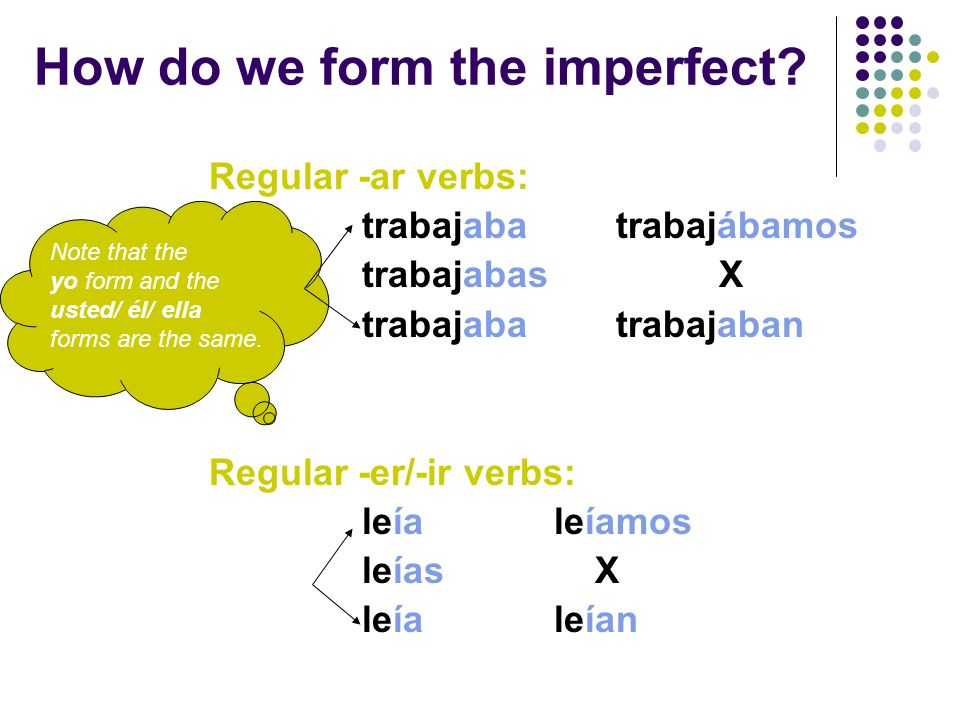 With DESCRIPTION IN THE PAST, USE THE IMPERFECT TENSE Carlos was tall but strong.Carlos era alto pero fuerte.