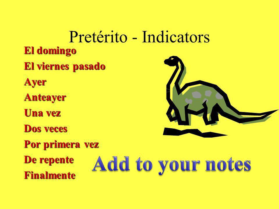 Pretérito - Indicators El domingo El viernes pasado AyerAnteayer Una vez Dos veces Por primera vez De repente Finalmente