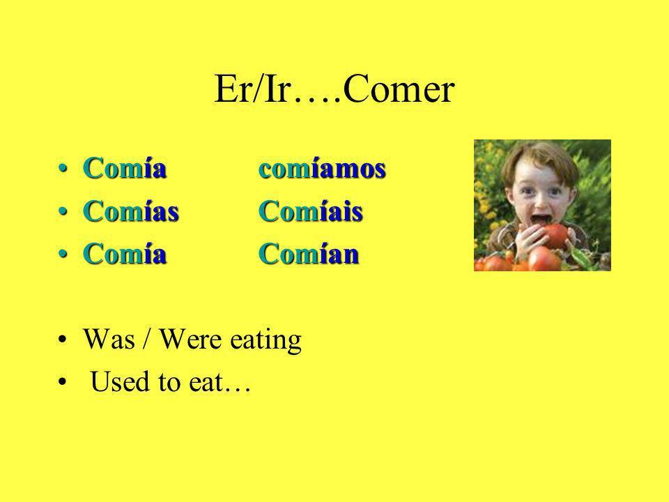 Er/Ir….Comer ComíacomíamosComíacomíamos ComíasComíaisComíasComíais ComíaComíanComíaComían Was / Were eating Used to eat…