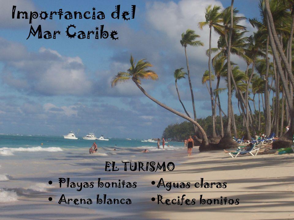 Importancia del Mar Caribe EL TURISMO Playas bonitas Arena blanca Aguas claras Recifes bonitos