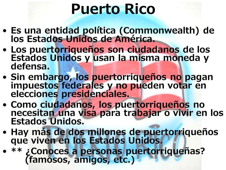 Es una entidad política (Commonwealth) de los Estados Unidos de América. Los puertorriqueños son ciudadanos de los Estados Unidos y usan la misma mone