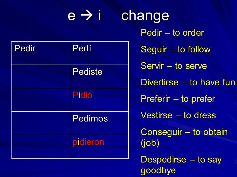 Y change leer Leí Leíste Leyó Leímos leyeron Leer Oír – to hear Creer – to believe Caerse – to fall