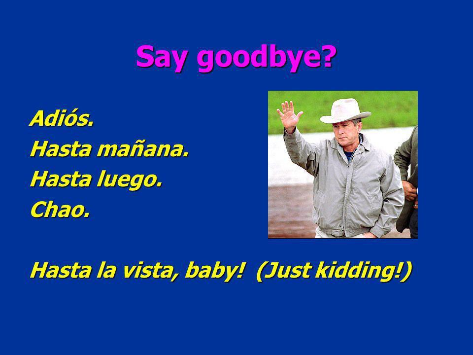 Say goodbye Adiós. Hasta mañana. Hasta luego. Chao. Hasta la vista, baby! (Just kidding!)