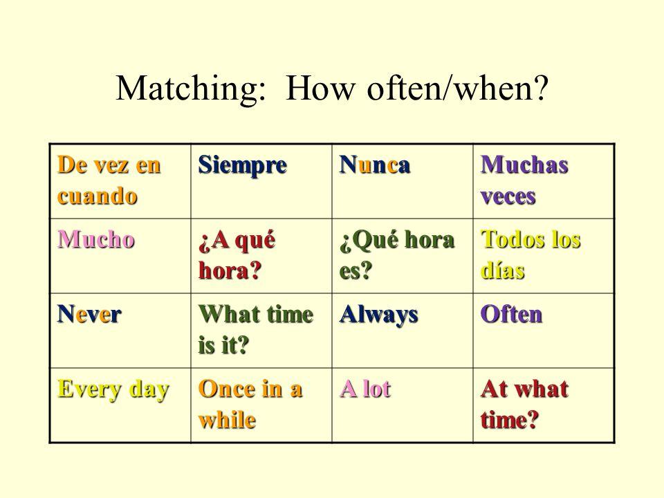 Matching: How often/when? De vez en cuando SiempreNuncaMuchas veces Mucho¿A qué hora? ¿Qué hora es? Todos los días NeverWhat time is it? AlwaysOften E