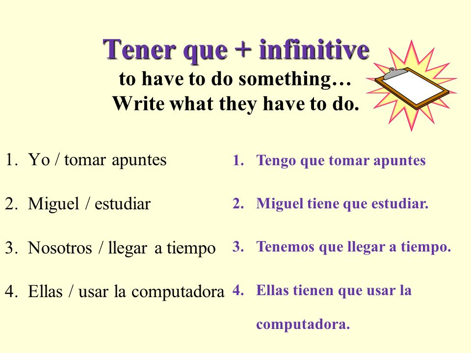 Tener que + infinitive Tener que + infinitive to have to do something… Write what they have to do.