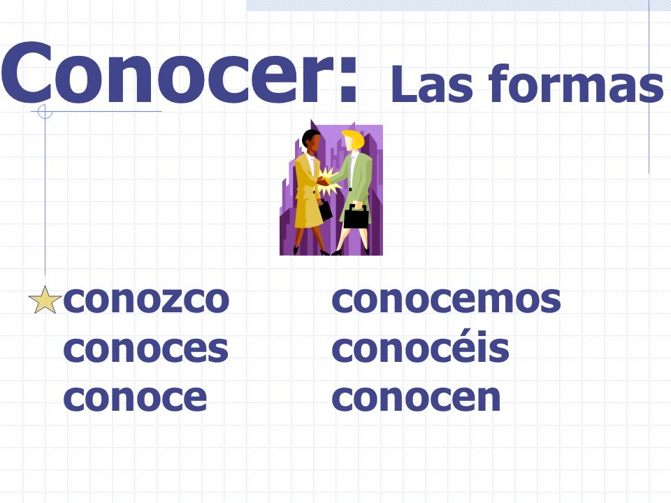 Saber: To know: 2. how to do something(activity) ej...Maritza sabe jugar al fútbol. Use saber + infinitive