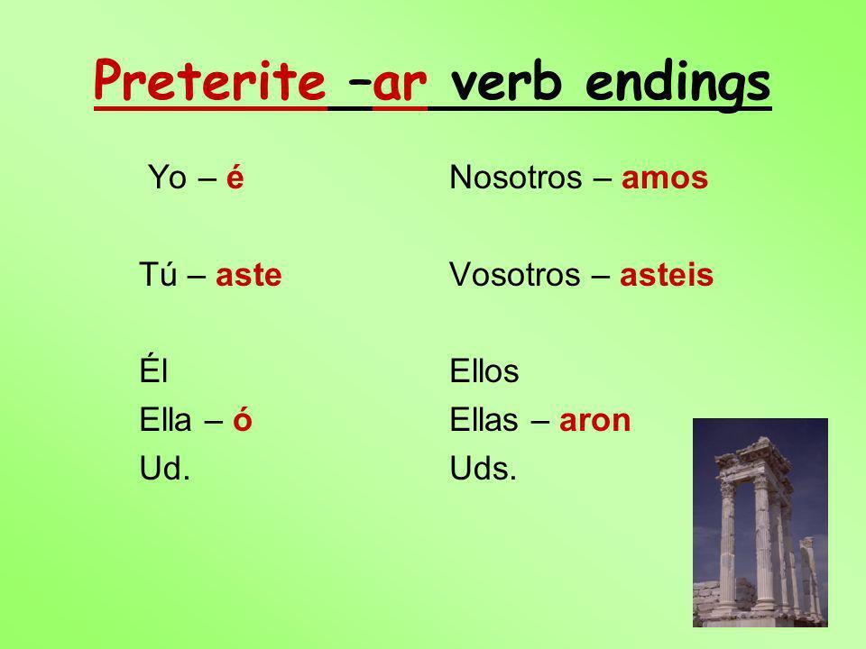 Preterite –ar verb endings Yo – é Tú – aste Él Ella – ó Ud. Nosotros – amos Vosotros – asteis Ellos Ellas – aron Uds.