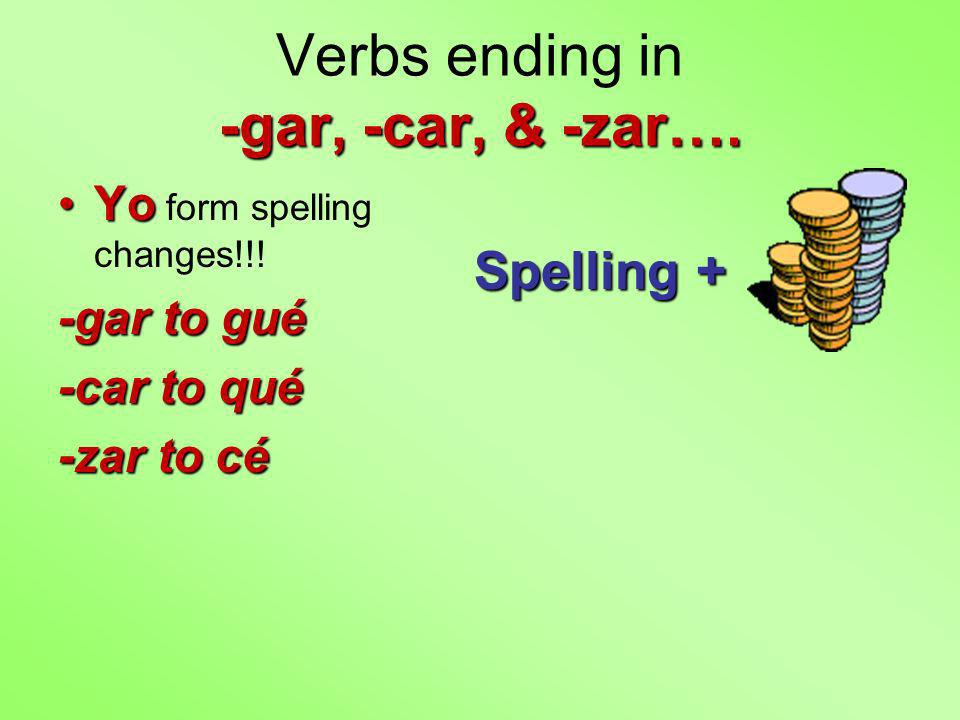 -gar, -car, & -zar…. Verbs ending in -gar, -car, & -zar….