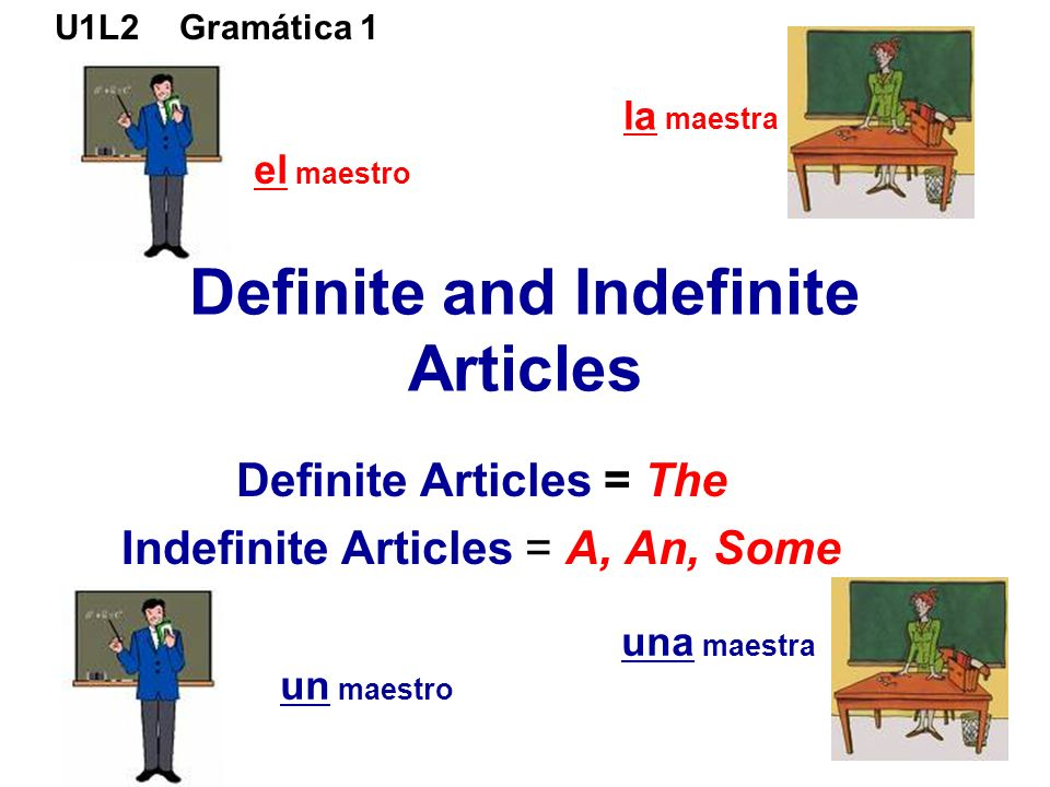U1L2 Gramática 1 Definite and Indefinite Articles Definite Articles = The Indefinite Articles = A, An, Some el maestro un maestro la maestra una maest