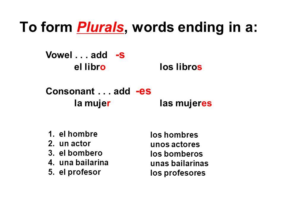 To form Plurals, words ending in a: Vowel... add -s el librolos libros Consonant... add -es la mujerlas mujeres 1. el hombre 2. un actor 3. el bombero