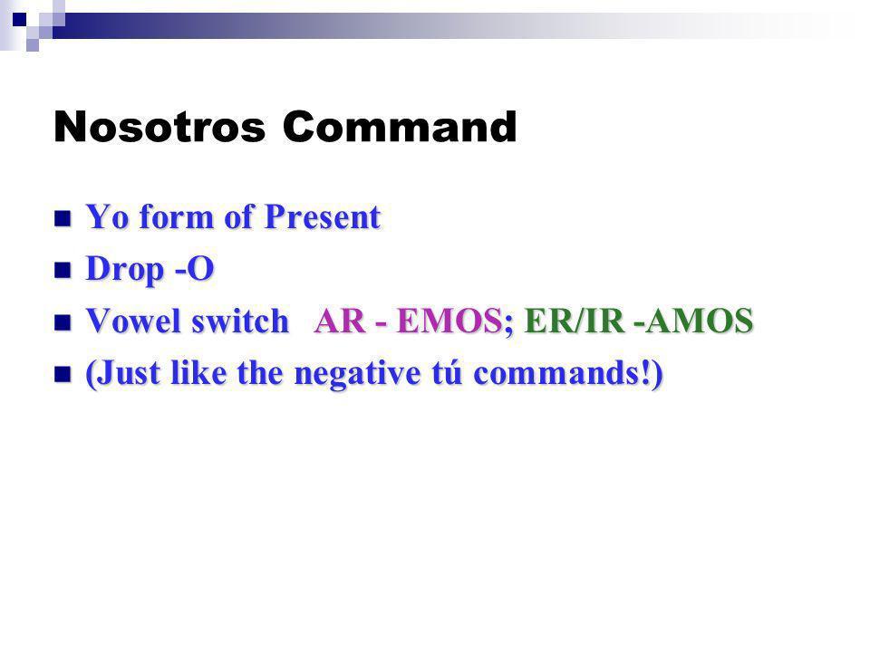 Nosotros Command Yo form of Present Yo form of Present Drop -O Drop -O Vowel switchAR - EMOS; ER/IR -AMOS Vowel switchAR - EMOS; ER/IR -AMOS (Just like the negative tú commands!) (Just like the negative tú commands!)