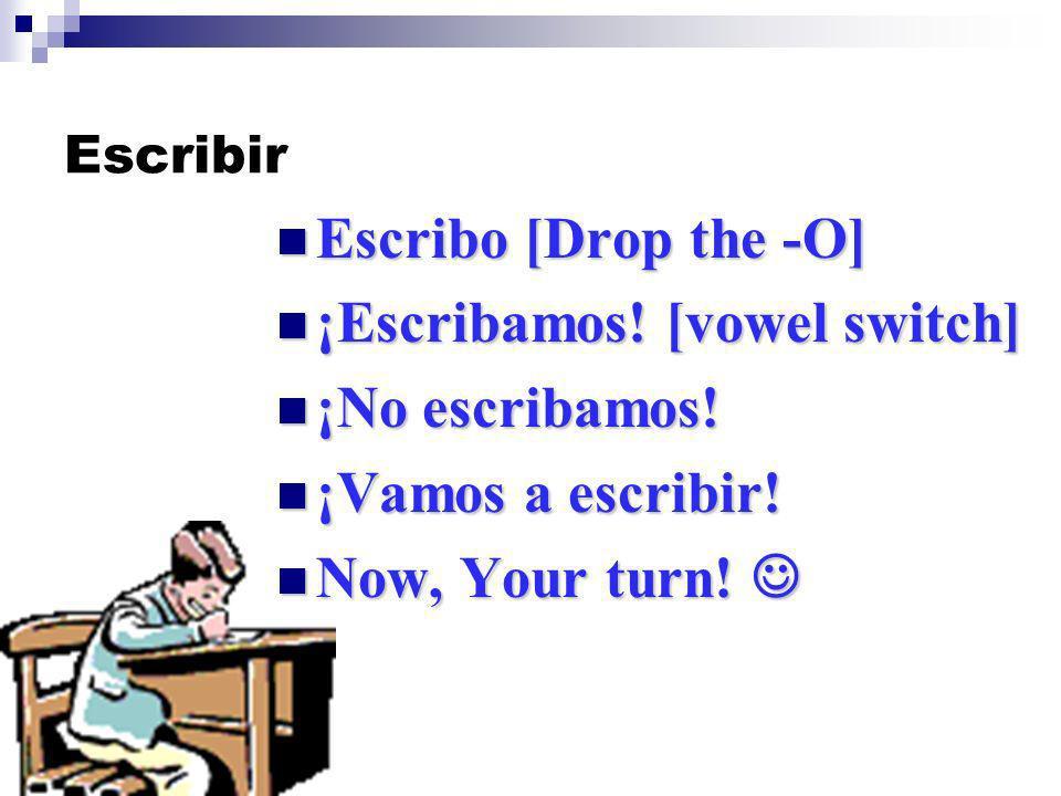 Escribir Escribo [Drop the -O] Escribo [Drop the -O] ¡Escribamos.