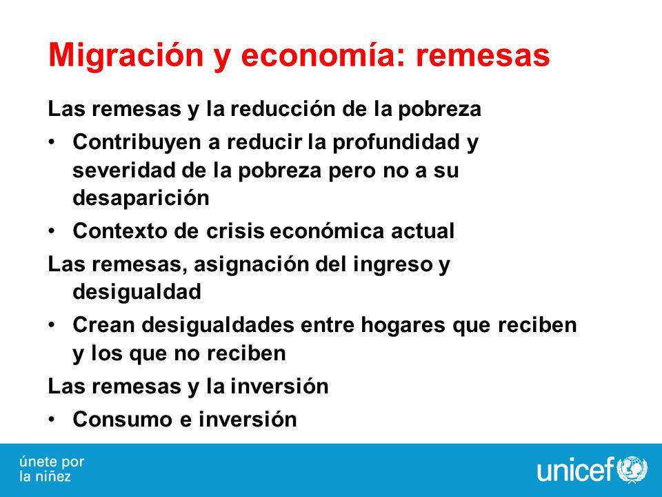 Migración y economía: remesas Las remesas y la reducción de la pobreza Contribuyen a reducir la profundidad y severidad de la pobreza pero no a su des