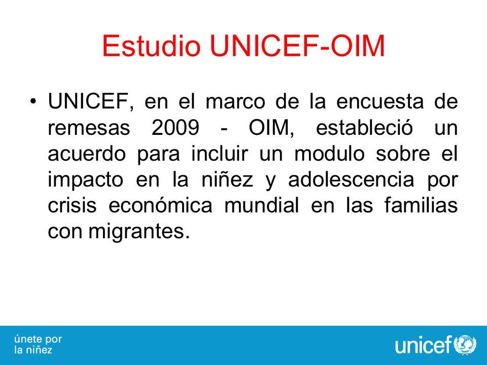 Estudio UNICEF-OIM UNICEF, en el marco de la encuesta de remesas 2009 - OIM, estableció un acuerdo para incluir un modulo sobre el impacto en la niñez