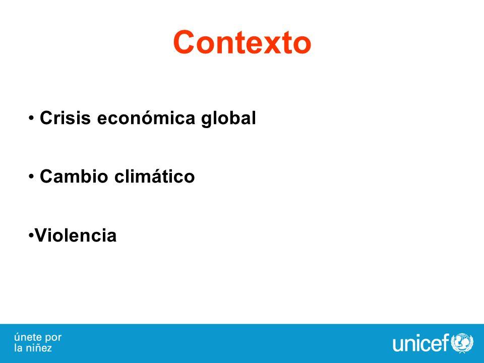 Contexto Crisis económica global Cambio climático Violencia