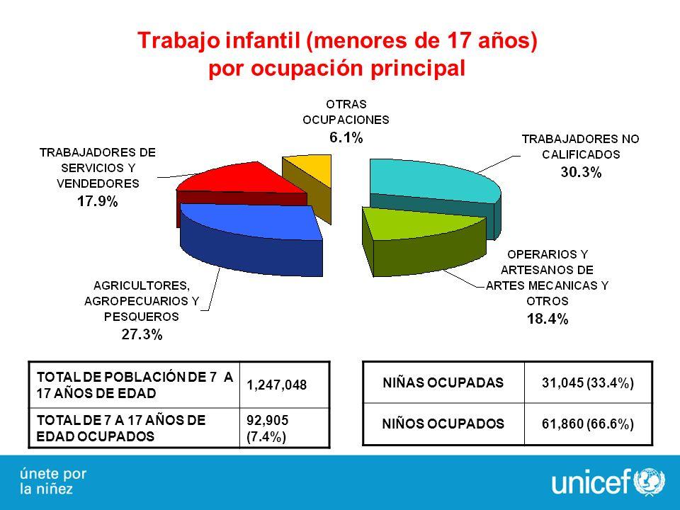 NIÑAS OCUPADAS31,045 (33.4%) NIÑOS OCUPADOS61,860 (66.6%) TOTAL DE POBLACIÓN DE 7 A 17 AÑOS DE EDAD 1,247,048 TOTAL DE 7 A 17 AÑOS DE EDAD OCUPADOS 92