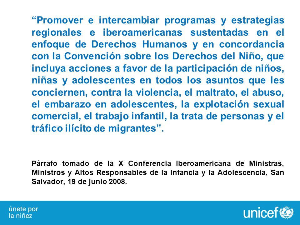 Promover e intercambiar programas y estrategias regionales e iberoamericanas sustentadas en el enfoque de Derechos Humanos y en concordancia con la Co