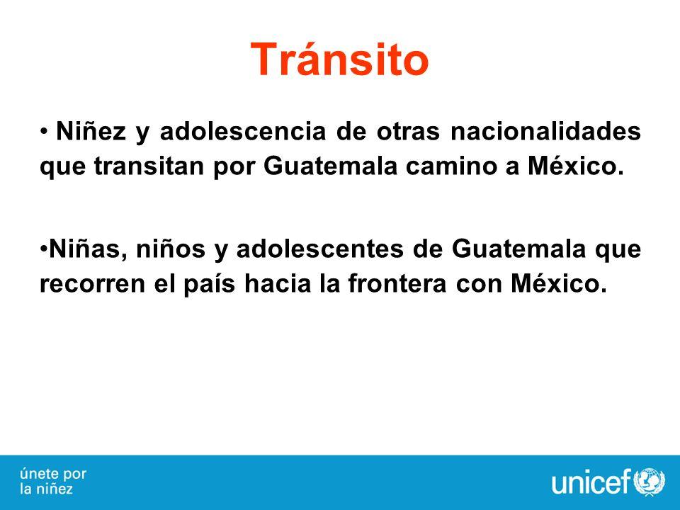 Tránsito Niñez y adolescencia de otras nacionalidades que transitan por Guatemala camino a México. Niñas, niños y adolescentes de Guatemala que recorr