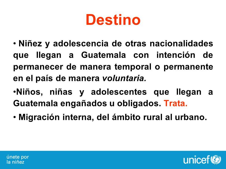Destino Niñez y adolescencia de otras nacionalidades que llegan a Guatemala con intención de permanecer de manera temporal o permanente en el país de