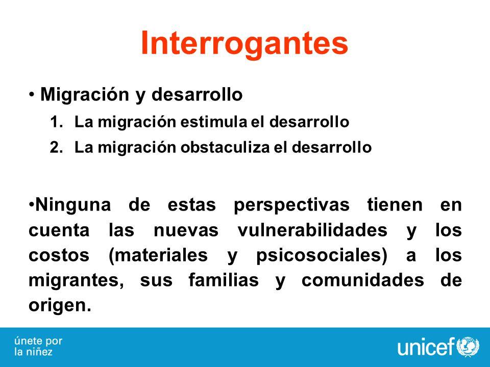 Interrogantes Migración y desarrollo 1.La migración estimula el desarrollo 2.La migración obstaculiza el desarrollo Ninguna de estas perspectivas tien