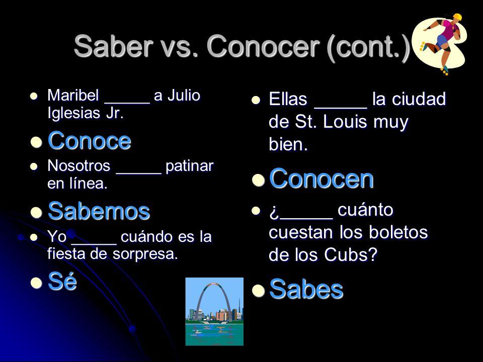 Saber vs.Conocer (cont.) Maribel _____ a Julio Iglesias Jr.
