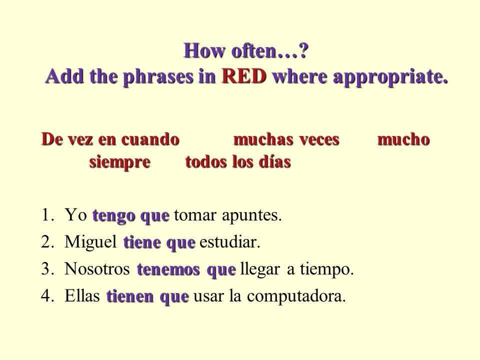 Tener que + infinitive Tener que + infinitive to have to do something… Write what they have to do. 1. Yo / tomar apuntes 2. Miguel / estudiar 3. Nosot
