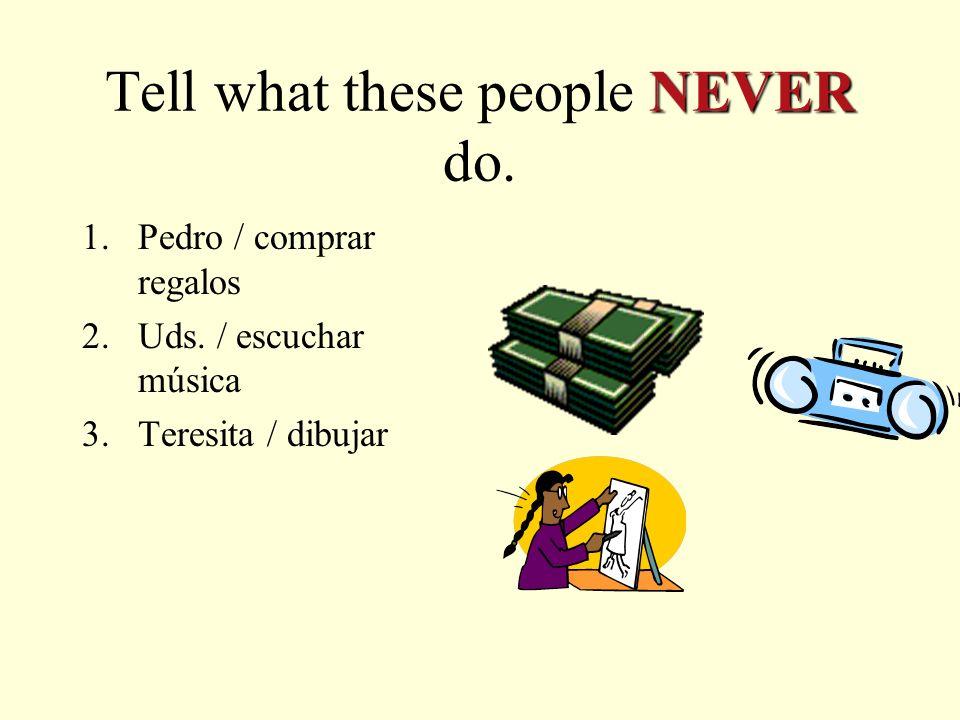 AR verbs and Nunca… Nonunca No hablamos nunca en la clase.