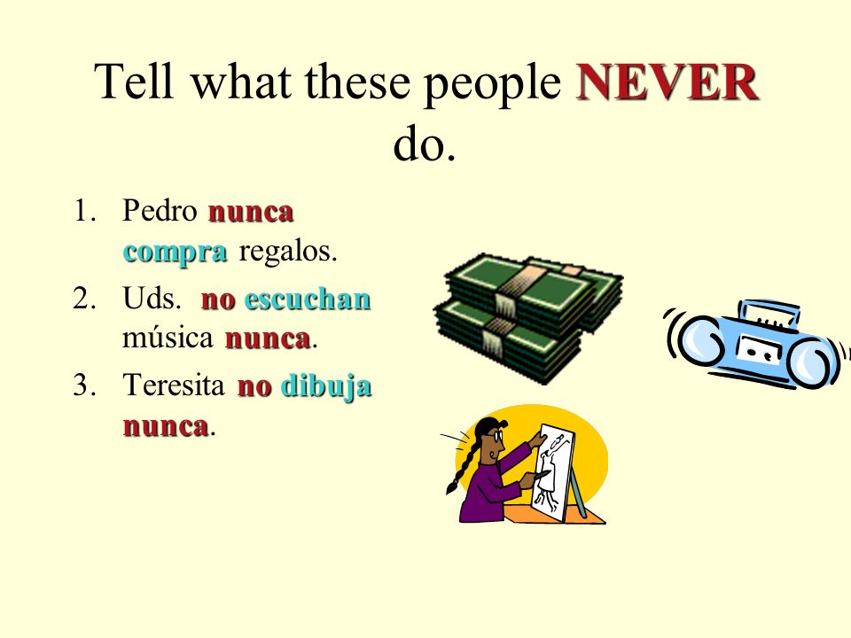 NEVER Tell what these people NEVER do. 1.Pedro / comprar regalos 2.Uds.