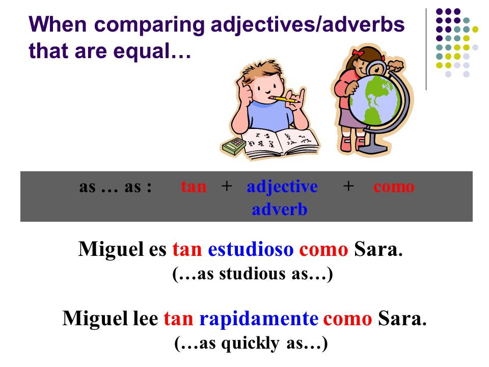 as … as : tan + adjective + como adverb Miguel es tan estudioso como Sara.