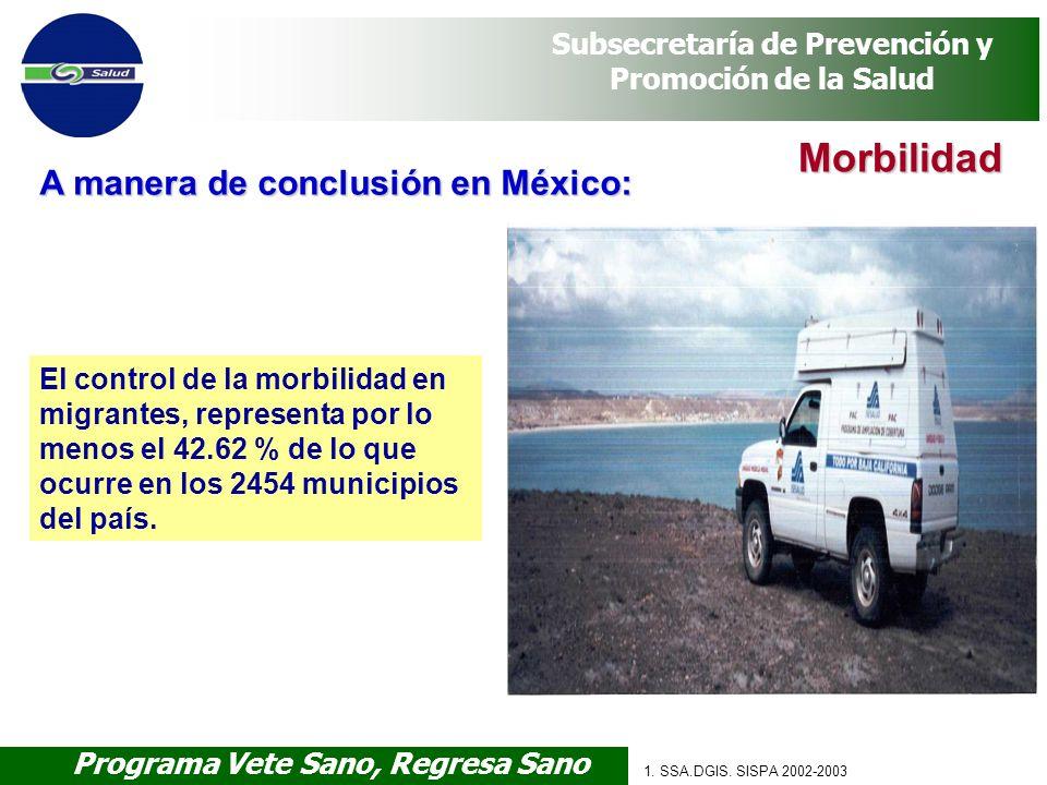 Programa Vete Sano, Regresa Sano Subsecretaría de Prevención y Promoción de la Salud 1. SSA.DGIS. SISPA 2002-2003 El control de la morbilidad en migra