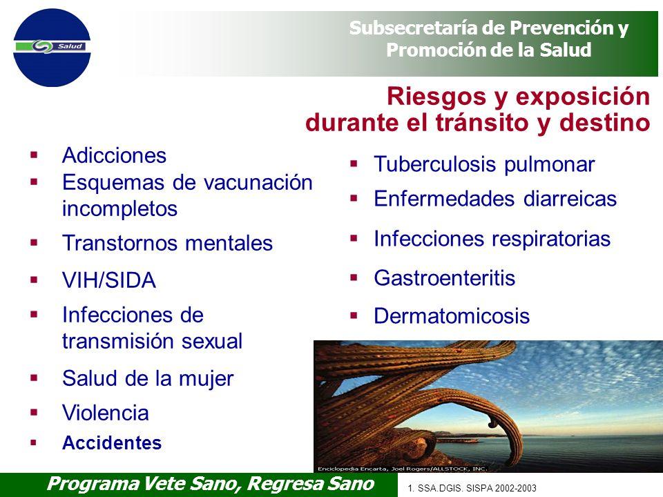 Programa Vete Sano, Regresa Sano Subsecretaría de Prevención y Promoción de la Salud Adicciones Esquemas de vacunación incompletos Transtornos mentale