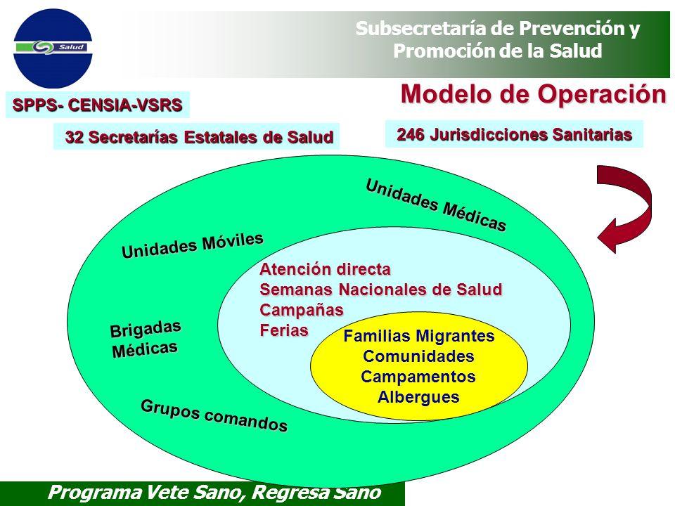 Programa Vete Sano, Regresa Sano Subsecretaría de Prevención y Promoción de la Salud Modelo de Operación Unidades Médicas Unidades Móviles Brigadas Mé