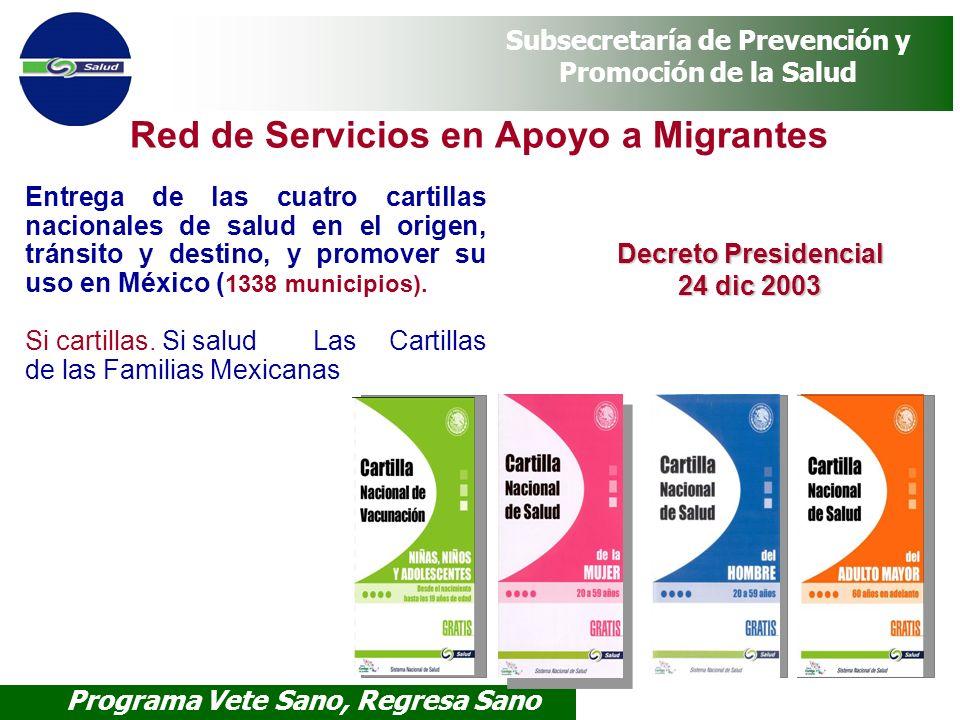 Programa Vete Sano, Regresa Sano Subsecretaría de Prevención y Promoción de la Salud Red de Servicios en Apoyo a Migrantes Entrega de las cuatro carti