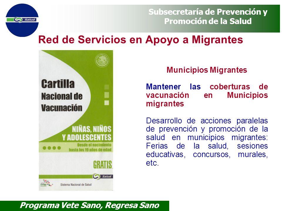 Programa Vete Sano, Regresa Sano Subsecretaría de Prevención y Promoción de la Salud Red de Servicios en Apoyo a Migrantes Municipios Migrantes Manten