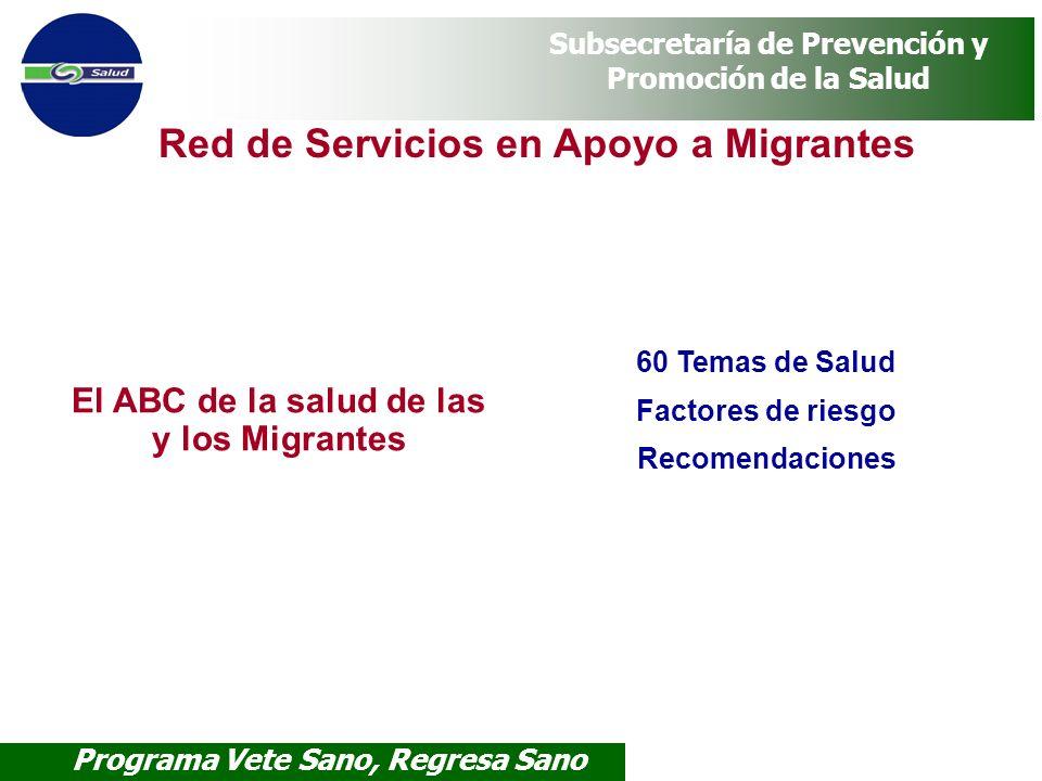 Programa Vete Sano, Regresa Sano Subsecretaría de Prevención y Promoción de la Salud Red de Servicios en Apoyo a Migrantes El ABC de la salud de las y