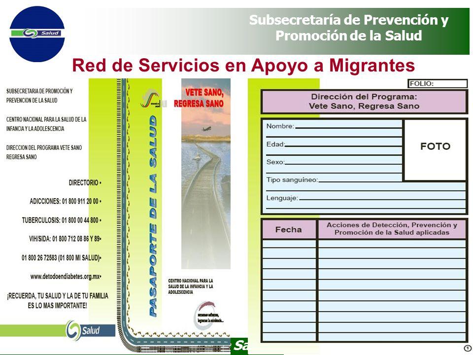 Programa Vete Sano, Regresa Sano Subsecretaría de Prevención y Promoción de la Salud Red de Servicios en Apoyo a Migrantes