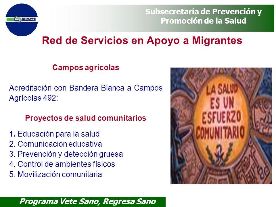 Programa Vete Sano, Regresa Sano Subsecretaría de Prevención y Promoción de la Salud Red de Servicios en Apoyo a Migrantes Campos agrícolas Acreditaci