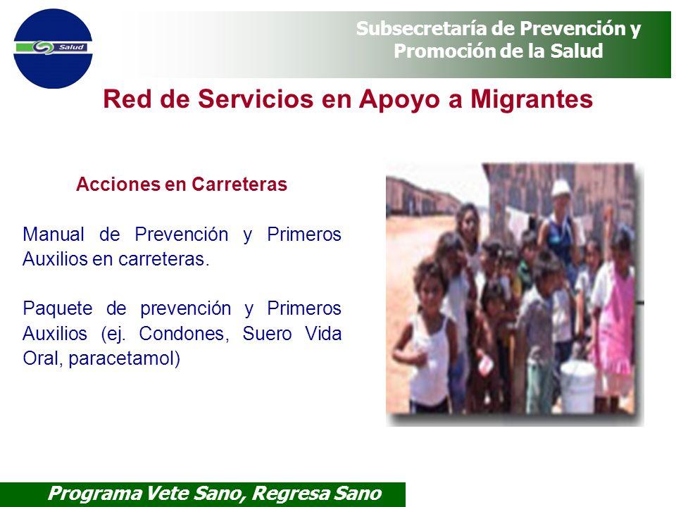 Programa Vete Sano, Regresa Sano Subsecretaría de Prevención y Promoción de la Salud Red de Servicios en Apoyo a Migrantes Acciones en Carreteras Manu